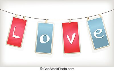 Valentine hanging labels.