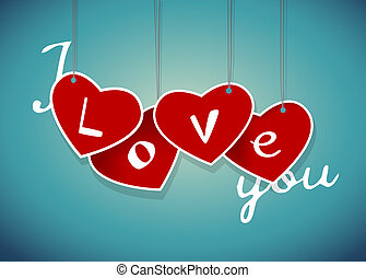 Valentine hanging labels. Vector art