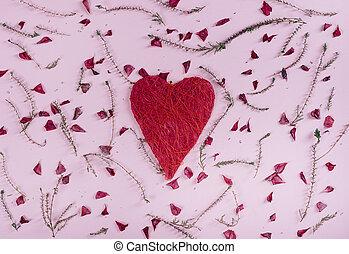 valentine, hart, en, bloemen