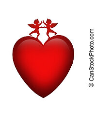 Valentine Heart and Cupids isolated - 3 Dimensional Red...