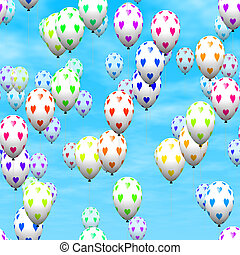Valentine heart balloons generated hires texture