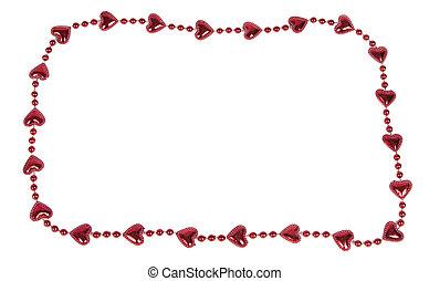 Valentine heart border isolated on white background