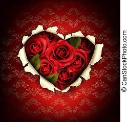 Valentine Heart Card Design. Red roses and ripped paper ...