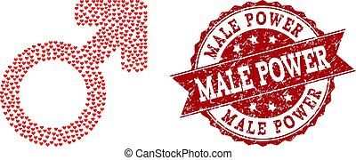 Valentine Heart Composition of Male Symbol Icon and Grunge Watermark
