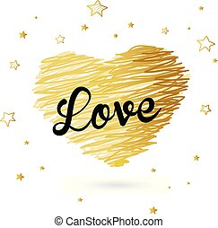 Valentine heart created from golden lines and black Love text with many stars.