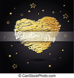 Valentine heart created from golden lines and white Valentine's Day text with many stars - dark version.