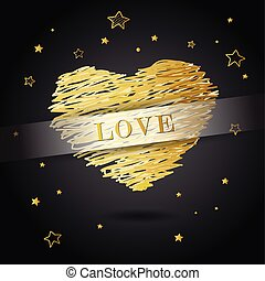 Valentine heart created from golden lines with Love and many golden stars - dark version.