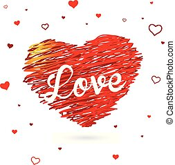 Valentine heart created from red lines and white Love text with many stars.