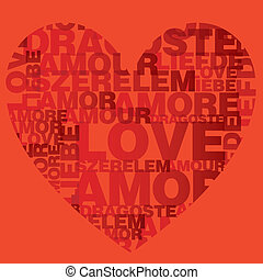 Valentine heart from love words