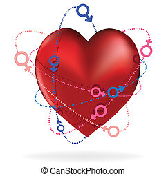 Heart love card, valentine day, sweet Icon male and female sign, vector illustration as planet and orbit in space.