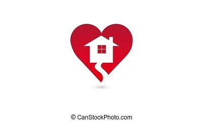Valentine heart house home, video animation. Home sweet...