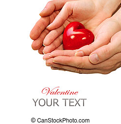 Valentine Heart in Man and Woman Hands isolated on white