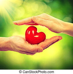 Valentine Heart in Man and Woman Hands over Nature...