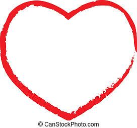 Valentine heart lipstick drawn