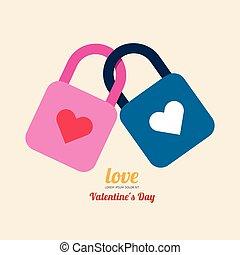 Valentine heart lock simbol.