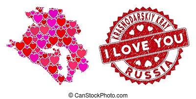 Valentine Heart Mosaic Krasnodarskiy Kray Map with Textured ...