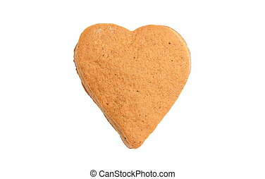 Valentine heart of gingerbread dough on white background