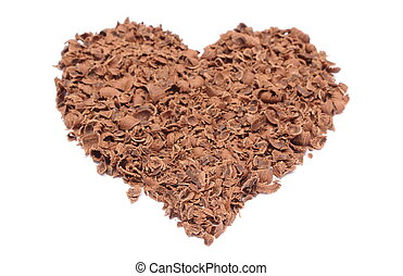 Valentine heart of grated chocolate on white background