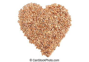 Valentine heart of linseed on white background