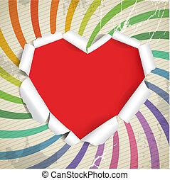 Valentine heart of torn paper on vintage background