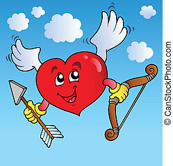 Valentine heart on blue sky
