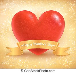 Valentine heart on gold background