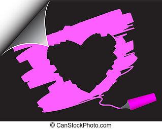 Valentine heart page curl