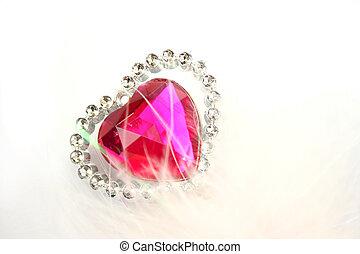 Valentine heart - Red heart stone on white background.