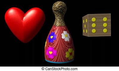 Valentine heart, piece and dice - Valentine heart, Ludo...