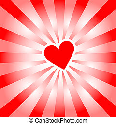 Valentine Heart radiates red rays of love - An abstract...