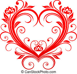 Valentine heart - Red valentine heart in floral style for...