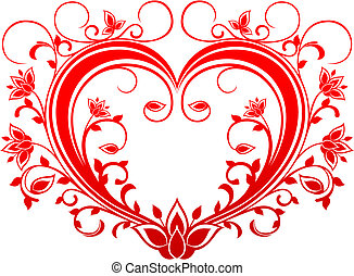 Red valentine heart in floral style for design