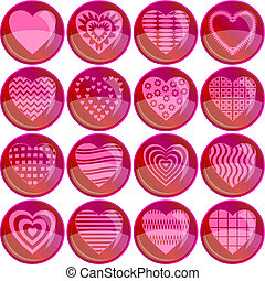Valentine heart, set buttons