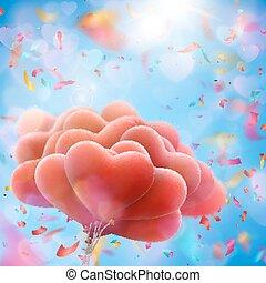 Valentine heart-shaped baloons. EPS 10