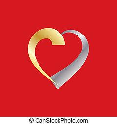 Valentine Heart Silver Gold