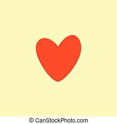 Valentine heart simbol. Vector illustration. red on yellow