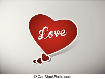 Valentine heart speech bubble with white Love text.