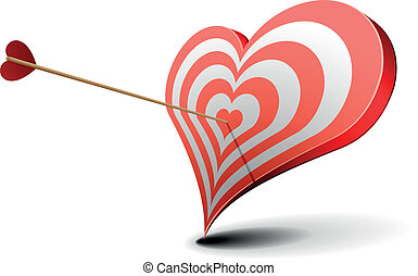 valentine heart target - valentine's day concept, arrow...