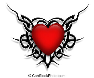 3D Valentine illustration composition with heart and black tribal design for card, background or tattoo graphic