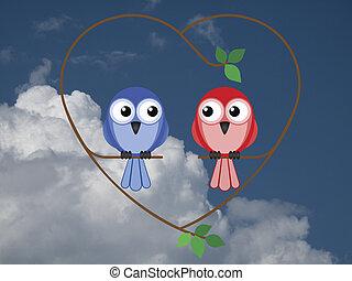 Valentine heart - Valentine girl and boy birds sat on a...