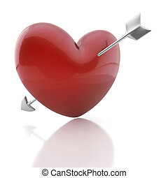 valentine heart with cupid arrow - red heart pierced by an...