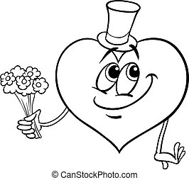 valentine heart with flowers coloring page