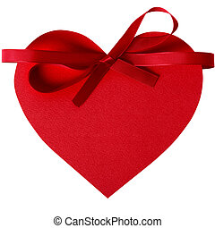 Valentine heart with red ribbon