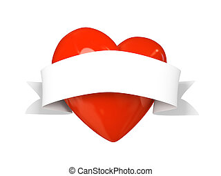 Valentine heart with tape isolated on white background 3D