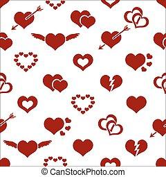 valentine hearth love symbols - set of red valentine hearth...