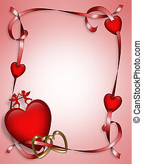 Valentine Hearts and Ribbons 3D - Valentine card. border,...