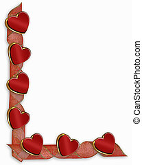 Valentine Hearts and ribbons border