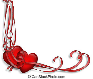 Valentine Hearts and Ribbons - Illustrated red hearts and...