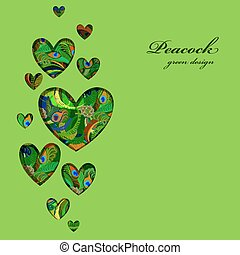 Valentine hearts card with peacock feathers ornament.