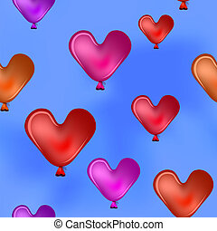 Valentine hearts in the blue sky